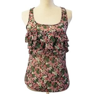 Express Floral Tank Top Ruffled Blouse XS